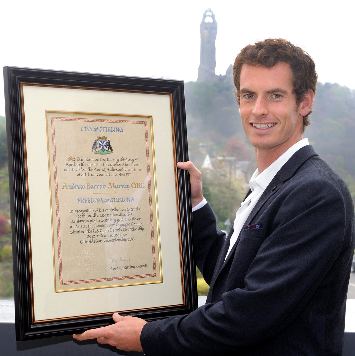 Andy Murray Receives Freedom of Stirling Award